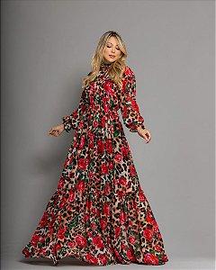 Vestido Zamar Isis Vermelho Longo