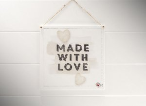 "QUADRO 20X20 ""MADE WITH LOVE..."""