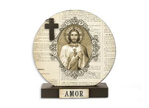 RELICÁRIO DE IMÃ SAGRADO CORAÇÃO DE JESUS ESTAMPA JORNAL