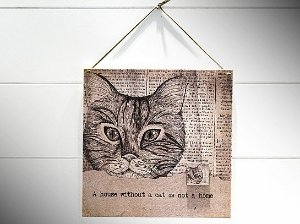 "QUADRO 20X20 JOURNAL CAT ""A HOUSE WITHOUT..."""