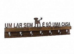 """PORTA CHAVES FERRO MADEIRA DOG """"UM LAR SEM..."""""""