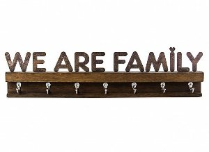 "PORTA CHAVES FERRO MADEIRA G ""WE ARE FAMILY"""