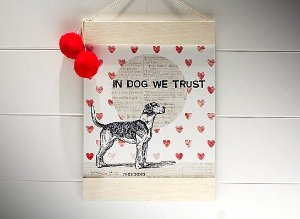 "PLACA BANNER M ""IN DOG WE TRUST..."""