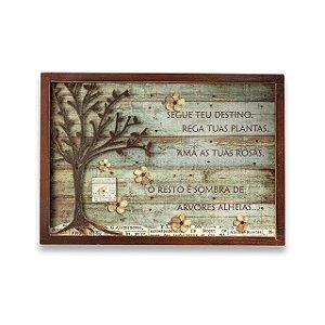 """Quadro ID madeira ferro árvore """"Segue teu..."""""""