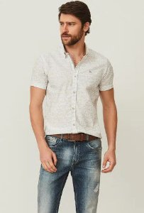 CAMISA MC SLIM PRINTED STAINS