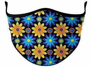 Máscara de Tecido de Dupla Camada  Fundo Preto Floral