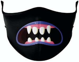 Máscara de Tecido de Dupla Camada Estampa Bocas Monstros 3