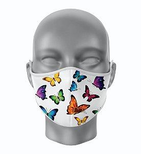 Máscara de Tecido de Dupla Camada  Fundo Branco Borboletas