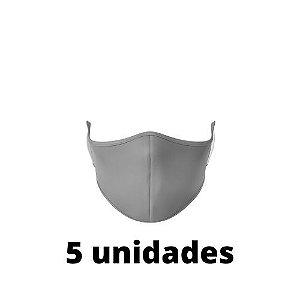 Máscara Antibacteriana Cinza Kit C/ 5 Unidades