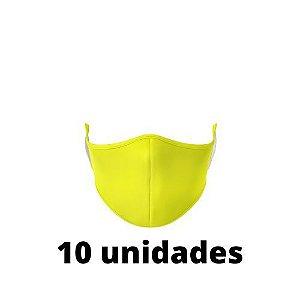 Máscara Antibacteriana Amarela Kit C/ 10 Unidades