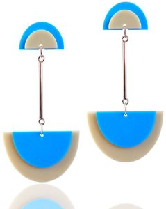 Brinco de Acrílico Geométrico Azul