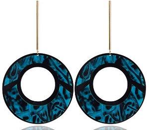Brinco de Acrílico Geométrico Folheado Argola Preto com Azul