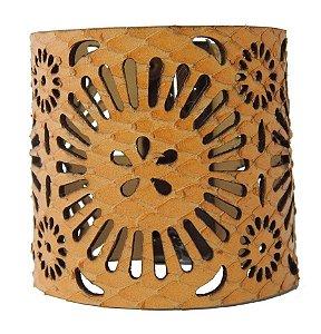 Bracelete Couro Flor - Whisky