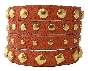Bracelete Couro Terracota
