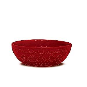Bowl em Cerâmica Yoi Relieve Vermelho