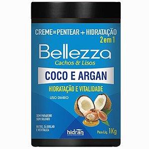 Creme de Pentear + Hidratação Hidran Bellezza 2 em 1 Coco e Argan 1Kg