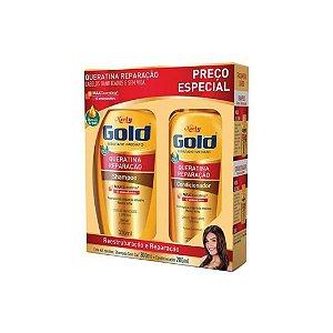 Kit Shampoo Niely Gold Queratina Reparação 300ml e Condicioandor 200ml