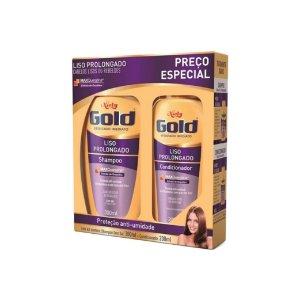 Kit Shampoo Niely Gold Liso Prolongado 300ml e Condicionador 200ml
