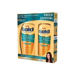 Kit Shampoo Niely Gold Óleo Argan Pós-Química 300ml e Condicionador 200ml