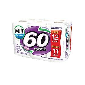 Papel Higiênico Mili Bianco 12x60m Perfumado Leve 12 Pague 11