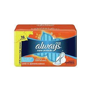 Absorvente Always Super Proteção Seca Com Abas C/16