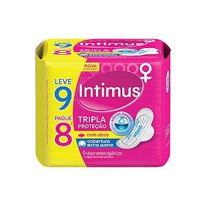 Absorvente Intimus Gel Tripla Proteção Com Abas Suave Leve 9 Pague 8