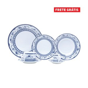 Aparelho de Jantar Rojemac C/42 Peças BonGourmet Porcelana Regina Azul