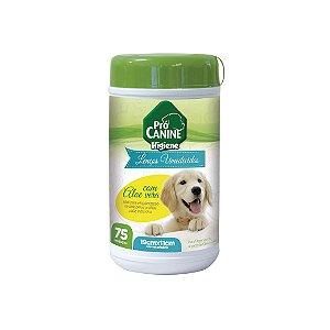 Lenços Umedecidos Pró Canine Filhotes Aloe Vera C/75 Unidades 19cmx11cm
