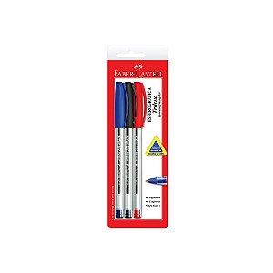 Caneta Esferográfica 8.0 Faber Castell Trilux Azul/Preta/Vermelha C/3 Unidades