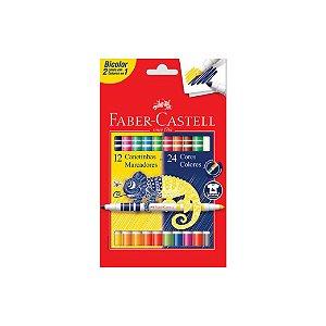 Canetinhas Hidrográficas Faber Castell Bicolor C/12 Canetinhas 24 Cores