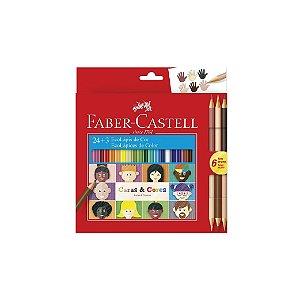 Lápis de Cor Faber Castell C/24 Cores + 3 Lápis Caras e Cores Tons de Pele