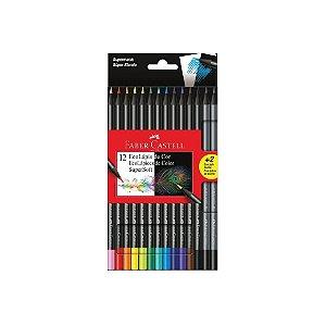 Lápis de Cor Faber Castell Cores Supersoft C/12 + 2 Ecolápis