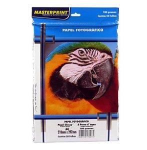 Papel Fotográfico Masterprint Inkjet A4 Glossy 180g C/50 folhas