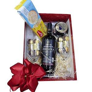 Cesta de Presente Dia dos Namorados com Vinho Tinto Pergola e Bombom Ferrero Rocher