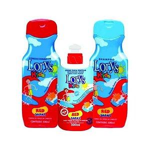 Kit Lorys Kids Red Shampoo + Condicionador + Creme para Pentear