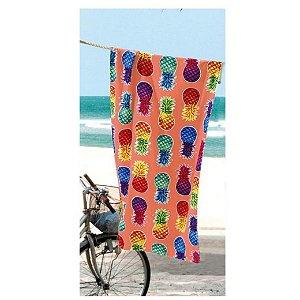 Toalha de Praia Dohler 76x152cm Abacaxi Aveludada