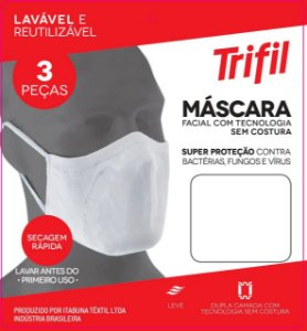 Kit 03 Máscara Facial Triffil Sem Costura 03 Branca