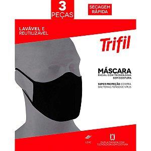 Kit 03 Máscara Facial Triffil Sem Costura 03 Preta