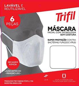 Kit 06 Máscara Facial Triffil Sem Costura 03 Branca e 03 Preta