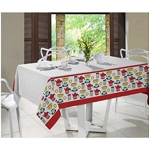 Toalha De Mesa Retangular 6 Lugares Santista Linha Royal Kitchen 140 X 210cm Vermelho