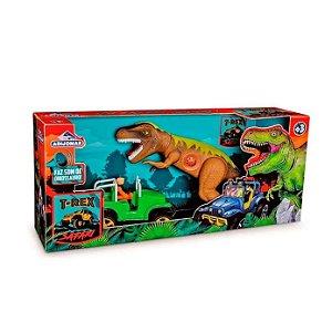 Dinossauro Tirano Rex C/ Jeep Emite Som 3+ Anos