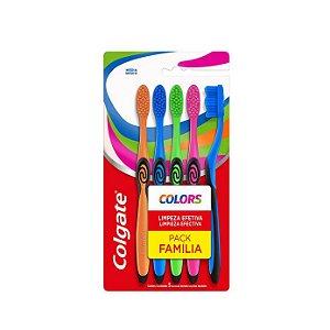 Escova Dental Colgate Colors Família C/5 Escovas