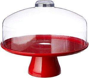 Boleira Coza Cake Com Cúpula 10111/0053 Vermelha