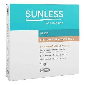 Pó Compacto Sunless Bege Médio Efeito Matte FPS50 10g