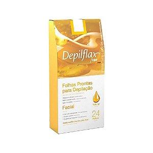 Folhas Prontas para Depilação Facial Depilflax Natural C/24 Unidades