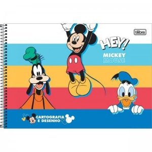 Caderno Cartografia e Desenho Capa Dura Espiral Tilibra Mickey Mouse C/80 Folhas