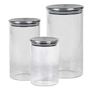 Jogo de 3 porta mantimentos redondos em vidro Full Fit borossilicato com tampa cor prata 600ml/1L/1,5L
