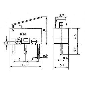Micro Chave KW10-B com Aste Próprio para Mouse Código Compra RDR-19229