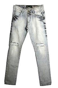 Calça Jeans Destroed Cinza FRENTE