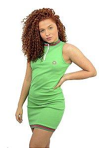 Vestido de Ribana c/ Retilínea Cores: VERDE, PRETO e AZUL CLARO